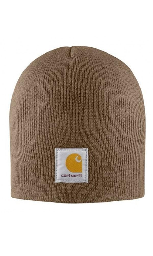 Carhartt rib knit traditional beanie in brown.