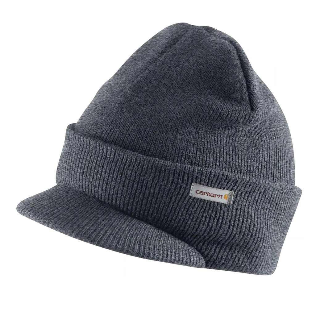 Carhartt A164 winter acrylic knit hat with visor in dark grey.