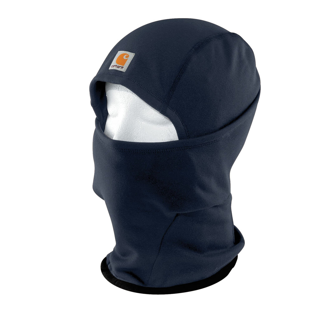 Front of navy blue Carhartt helmet liner mask showing label.