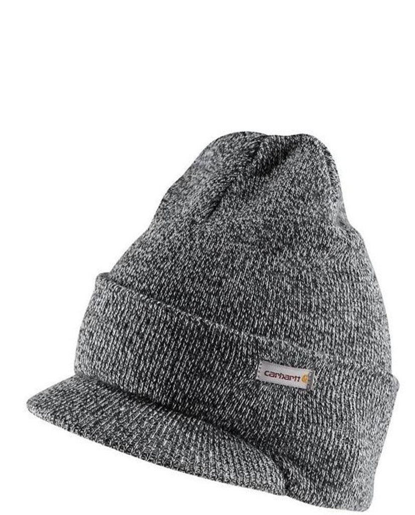 Carhartt A164 winter acrylic knit hat with visor in grey.