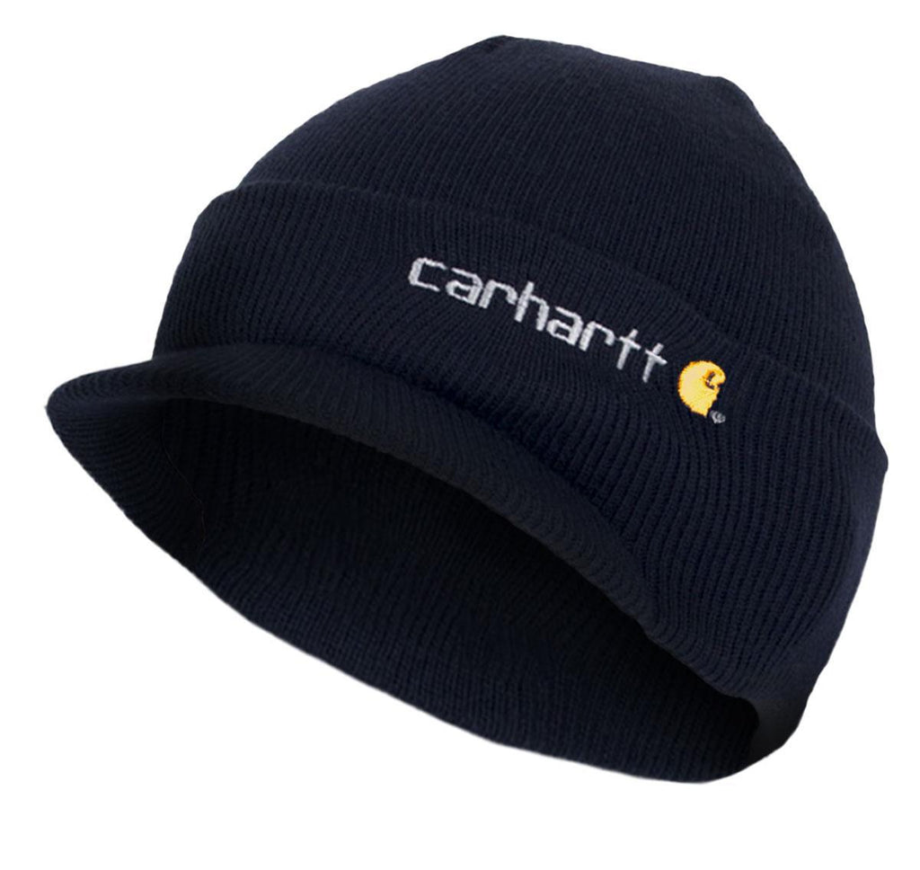 Carhartt A164 winter acrylic knit hat with visor in dark blue.