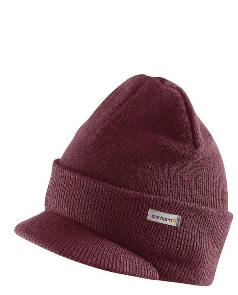 Carhartt A164 winter acrylic knit hat with visor in red-maroon.