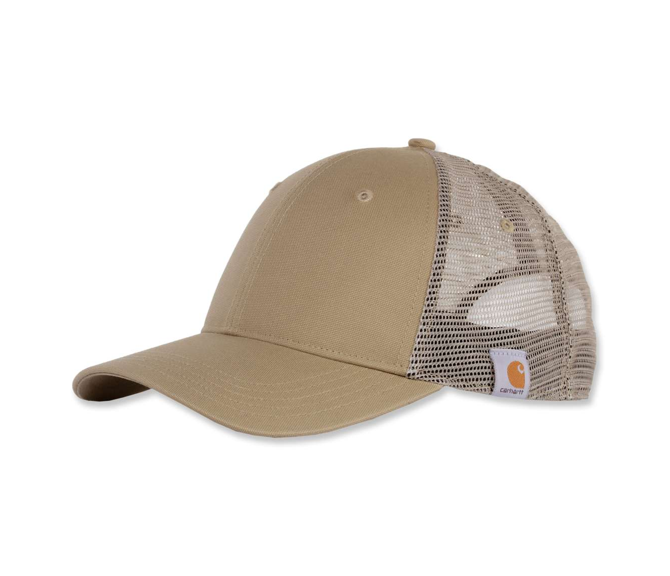 Angled front view of rugged Professional Series Cap in khaki with pre-curved visor and canvas front with mesh back, and Carhartt label visible on side.