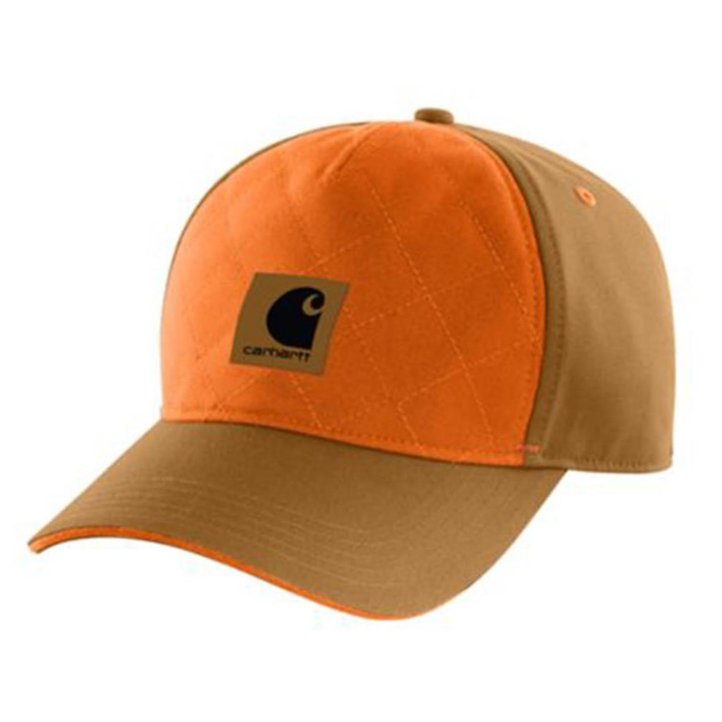 Front of orange and brown Quick Duck canvas quilted Carhartt cap with logo on front quilted panel.