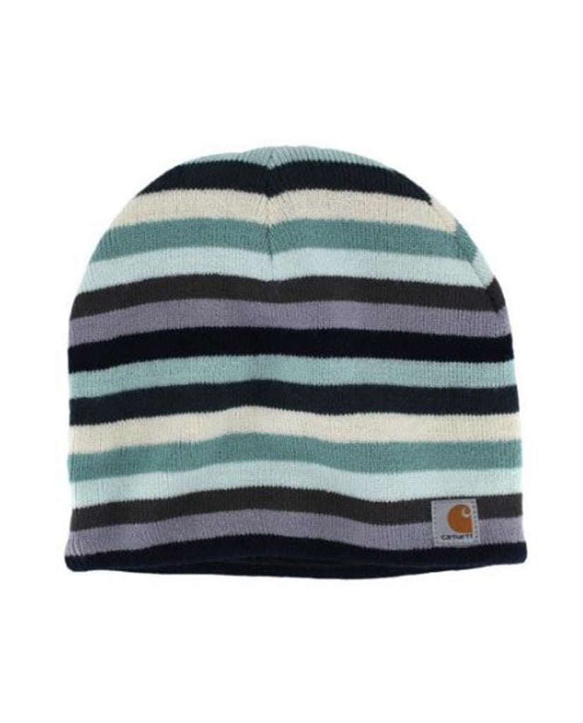Fleece lined Carhartt striped CHWA002 'Deep Blue' knit beanie showing Carhartt label sewn on front.