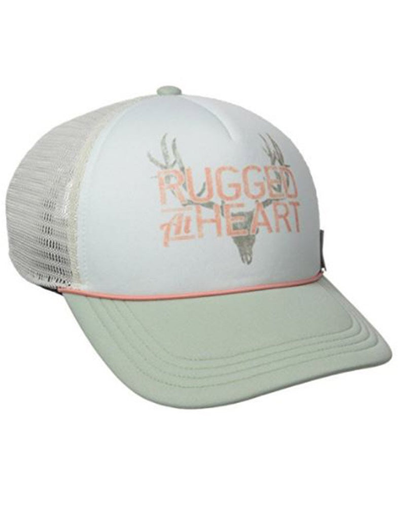 Pastel polyester structured high-profile cap with pre-curved visor with stag graphic.