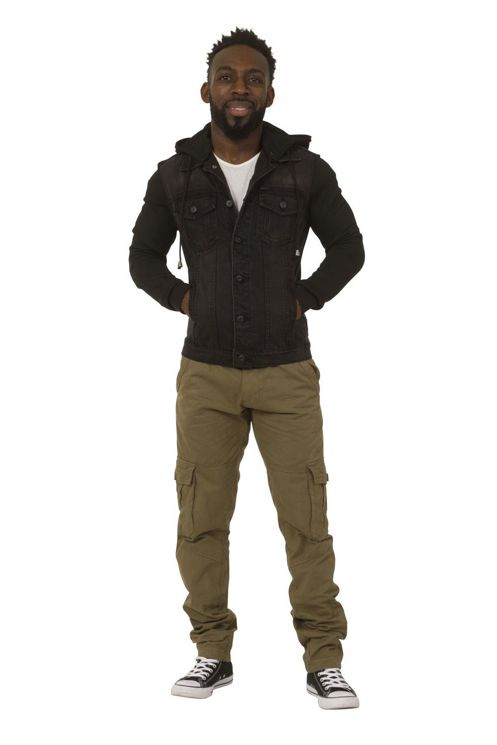 Full frontal view of slim fit black denim jacket with jersey cotton sleeves and detachable hood and hands in front pockets.
