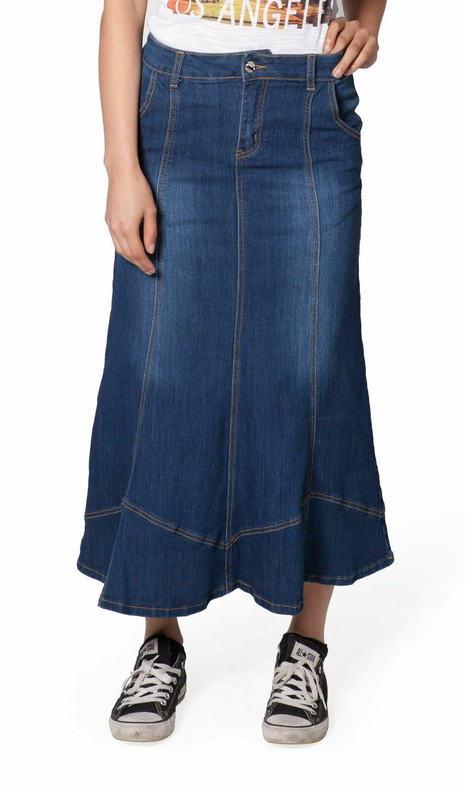 Front close-up view of machine washable, medium-weight denim skirt with a clear view of belt loops, panels and front zipper.