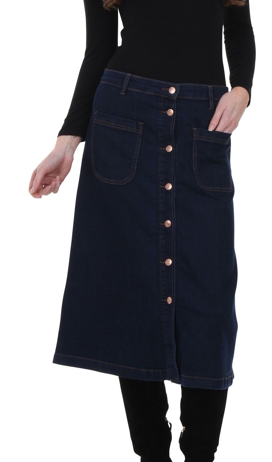 Focus on front patch pockets, belt loops and buttons on 'christine' denim skirt from Dungarees Online.