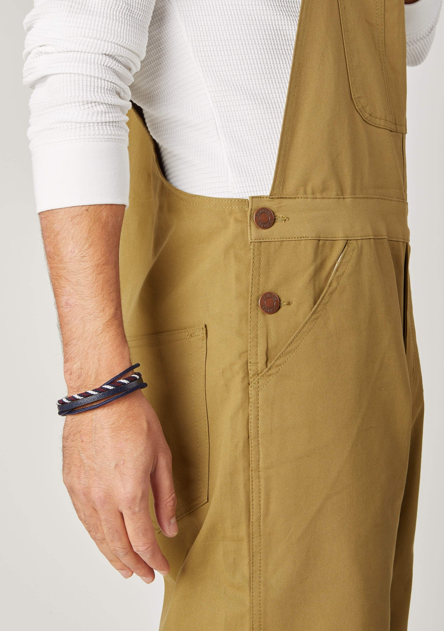 Close-up of side button fastening and denim detailing from 'Christopher' brand dungaree shorts from Dungarees Online.