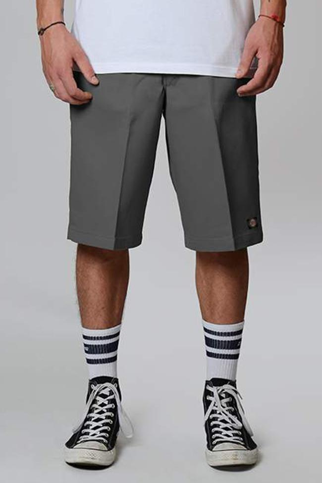 Front view of charcoal Dickies multi-pocket work short with permanent front crease.