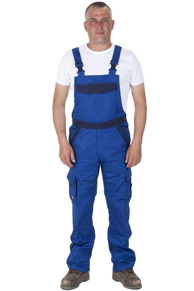 Full frontal view of Dickies blue work dungarees, detailing pockets, zip fly and polyester-cotton mix material.