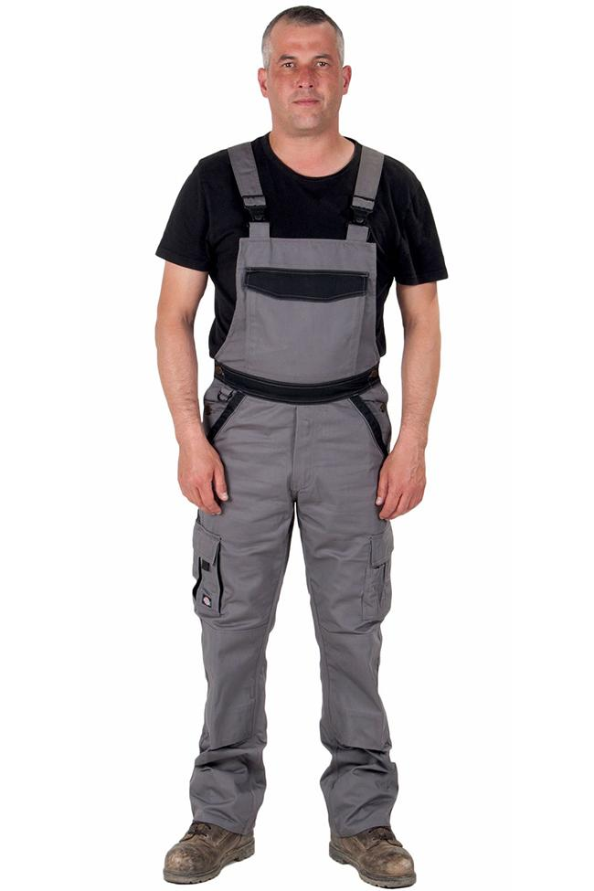 Full frontal view of Dickies grey work dungarees, detailing pockets, zip fly and polyester-cotton mix material.