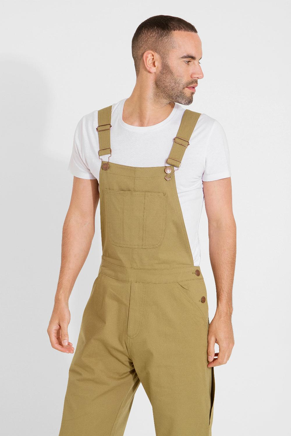Top half focus of men's slim-fit olive cotton bib-overalls with clear view of side button fastening, belt loops and adjustable straps.