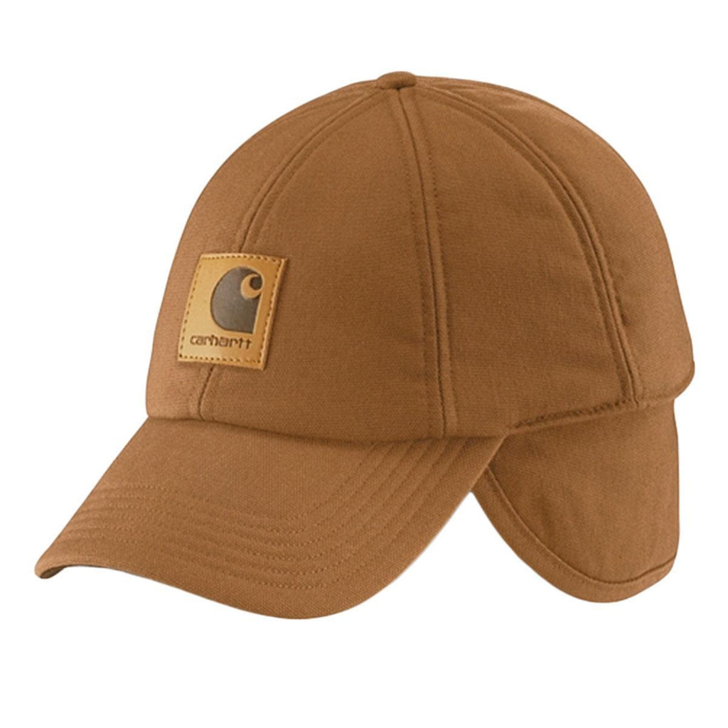 Carhartt brown cotton canvas 'Work Flex' ear flap cap with leatherette Carhartt label on the front.