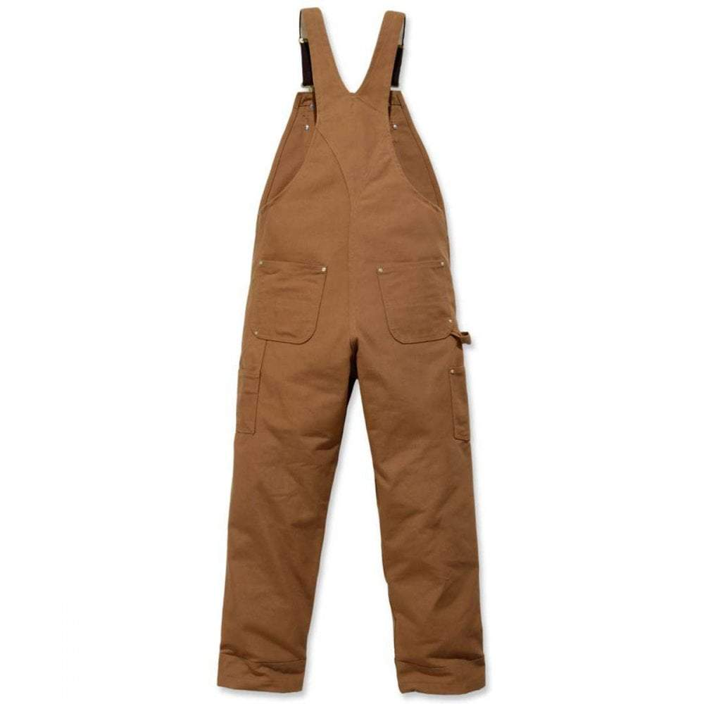Heavyweight black cotton duck brown dungarees rear flat.