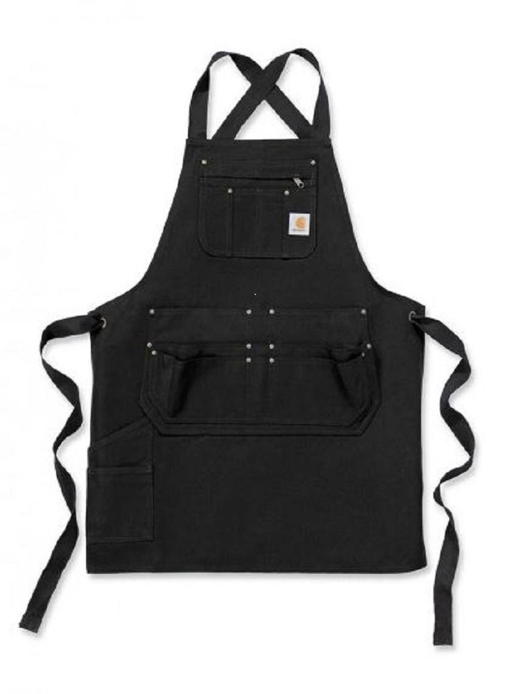 Front flat of Carhartt black work apron with Criss-Cross strap ties in back.