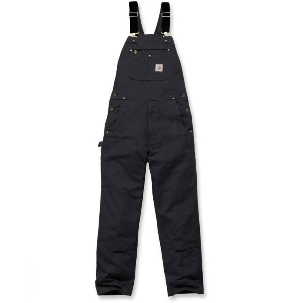 Heavyweight black cotton duck black dungarees front flat.