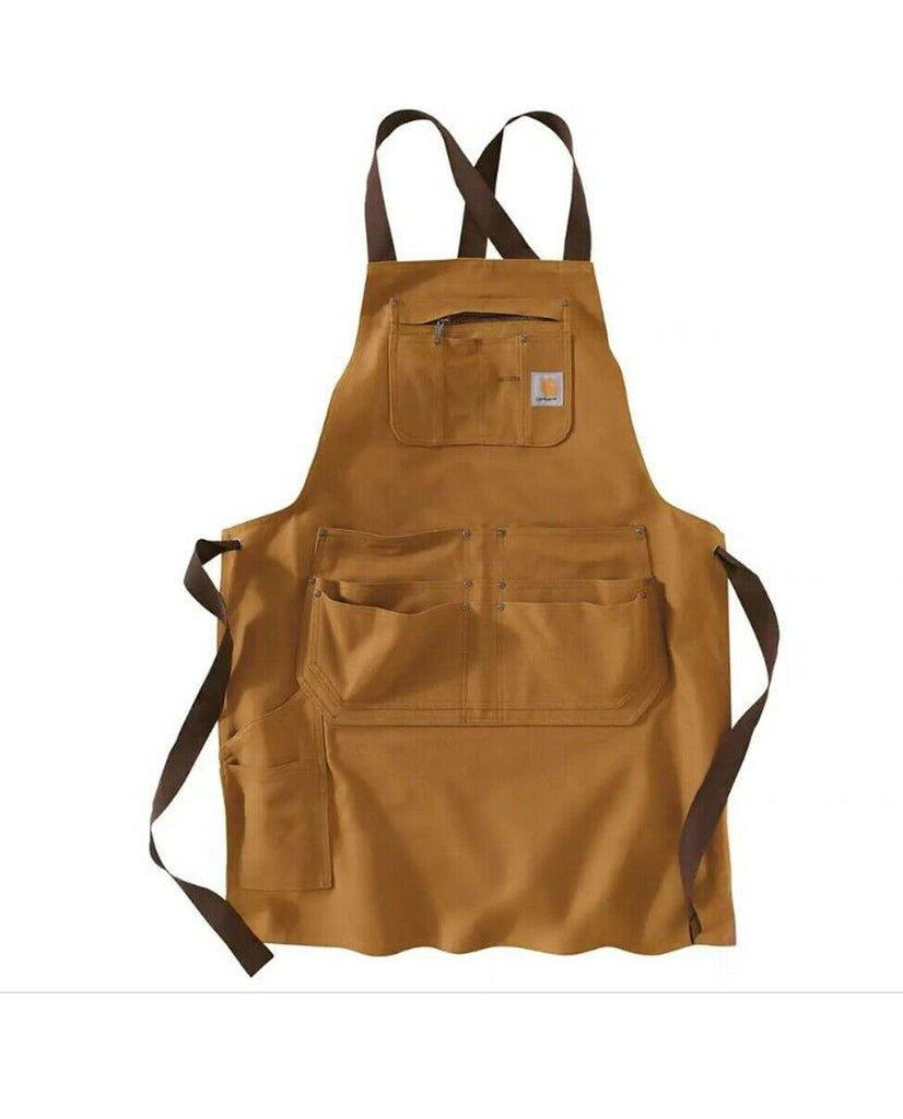 Front flat of Carhartt brown work apron with multiple pockets.