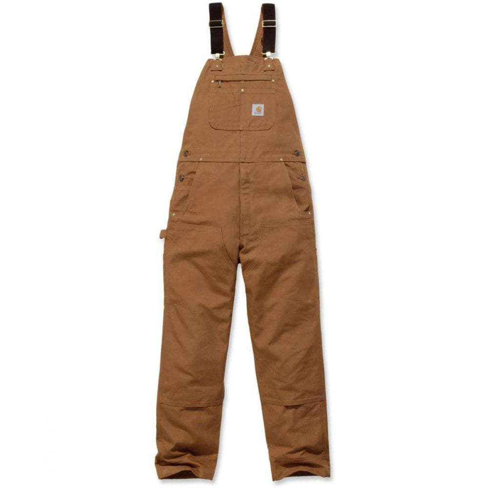 Heavyweight brown cotton duck black dungarees front flat.