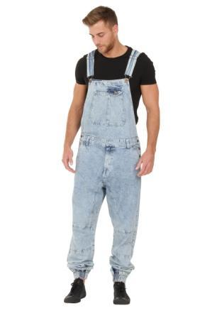 Front of 'Ethan' brand men's acid wash dungarees with model looking downwards.