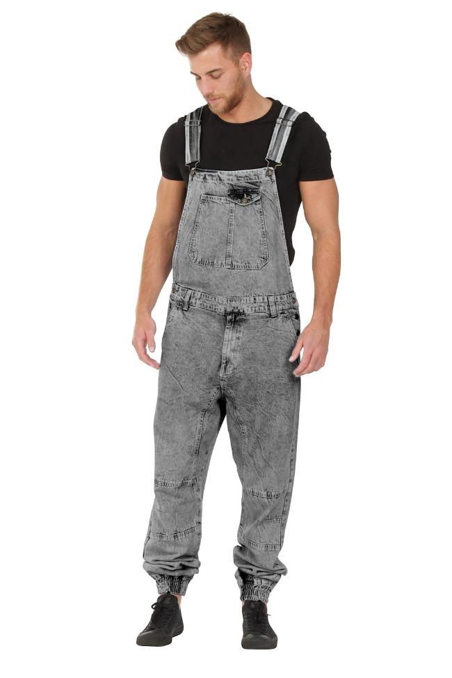Front of 'Ethan' brand men's acid wash dungarees with model looking downwards and to his right.