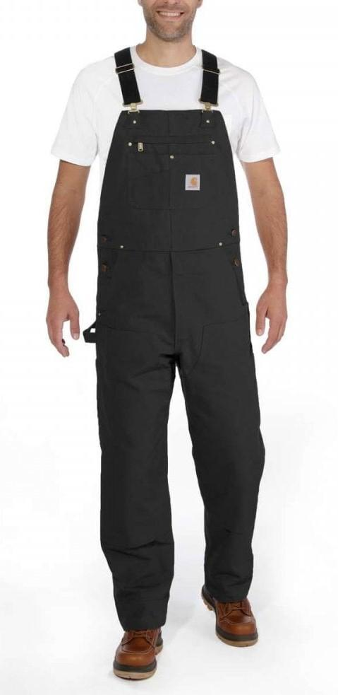 Front pose looking ahead wearing black unlined bib overalls.