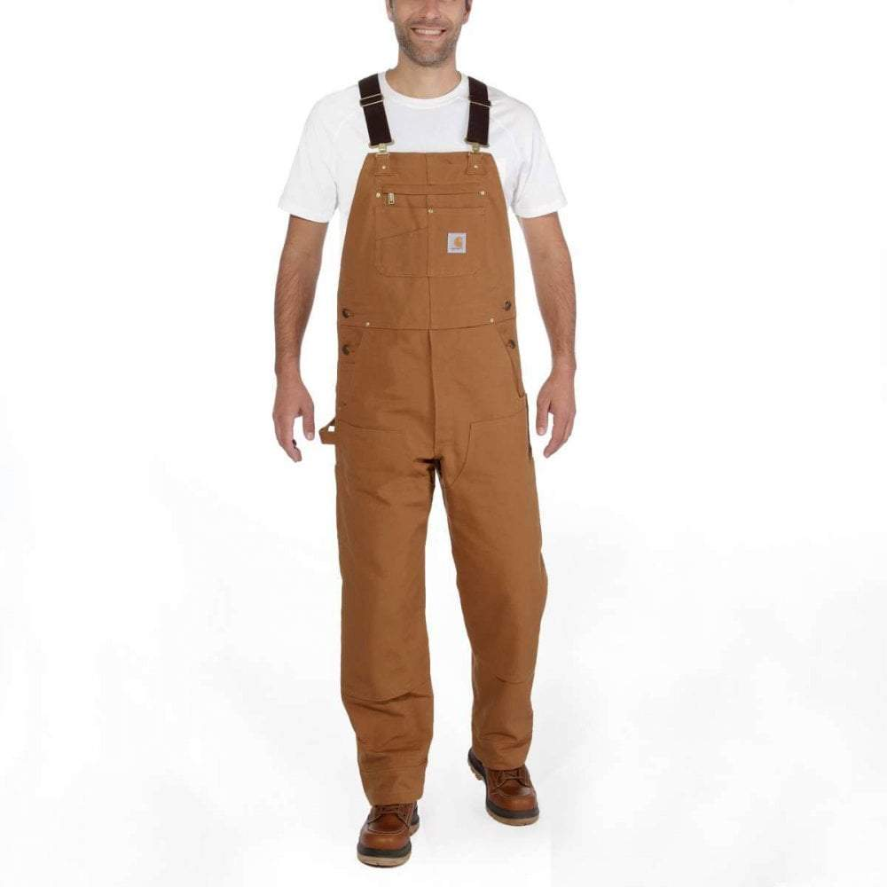 Front pose looking ahead wearing brown unlined bib overalls.