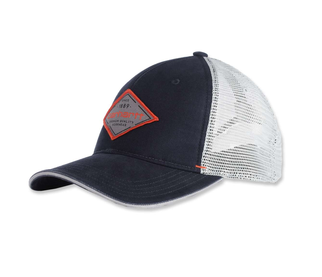 Angled front of Carhartt CH104335 Silvermine Cap showing 100% cotton washed canvas front and Carhartt patch.