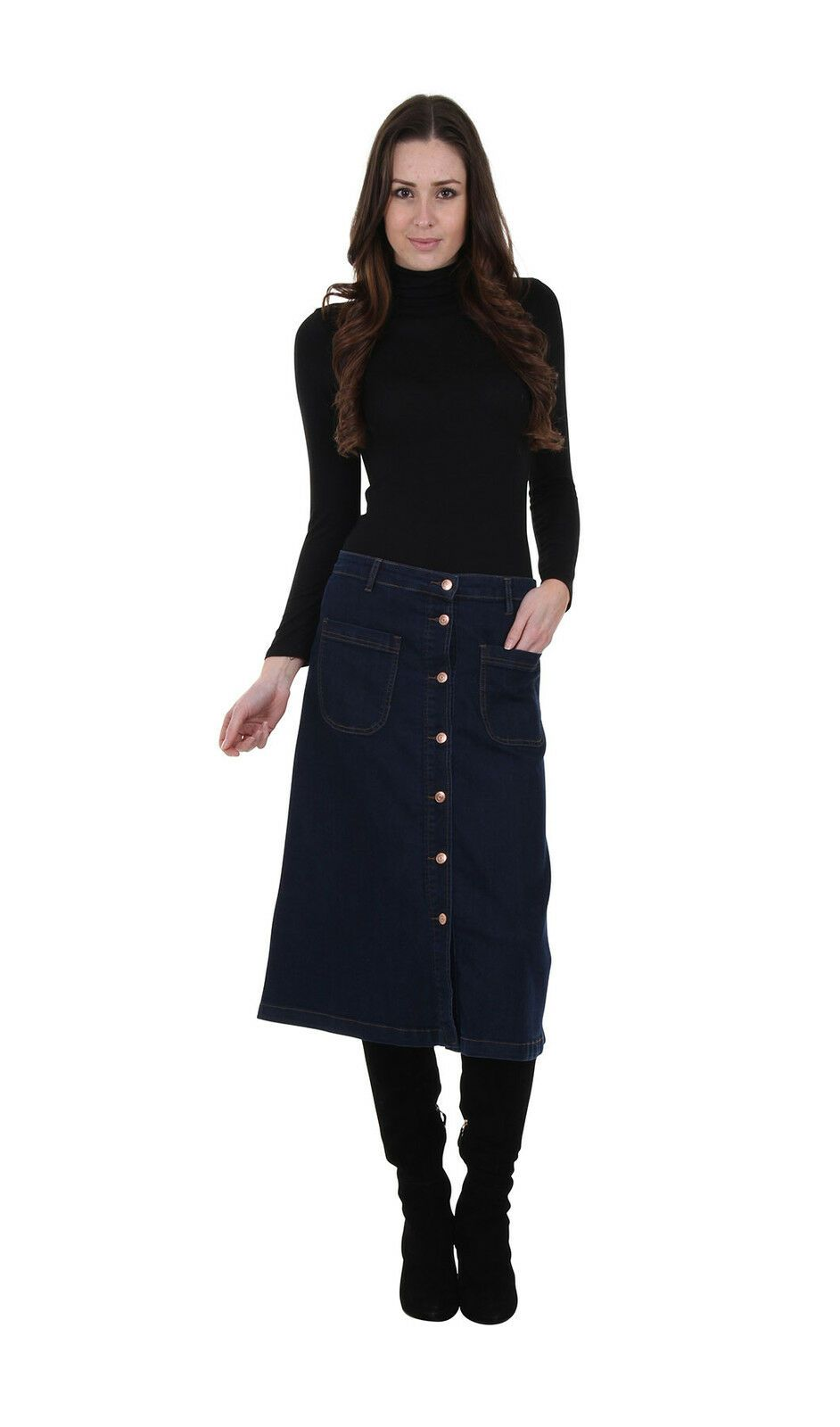 Full frontal pose with hand in front-left pocket of button front dark wash denim midi skirt from Dungarees Online.