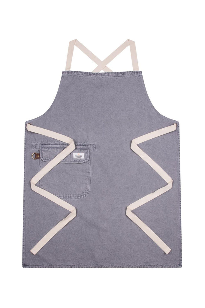 Full front 'Cholton' brand steel grey denim bib apron from Dungarees Online, with cream straps.