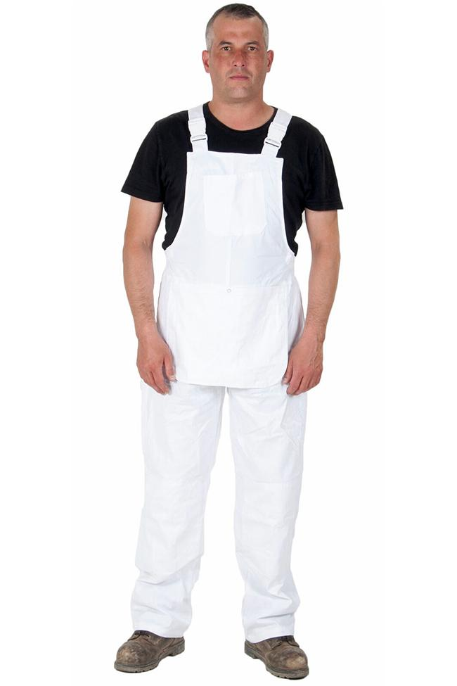 Full frontal pose wearing unisex white work dungarees showing chest pocket.