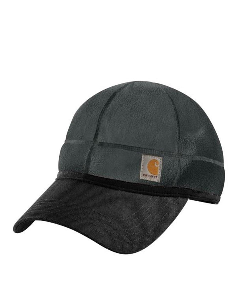 Front of Carhartt Force Griggs CH101808 grey fleece cap with canvas visor.