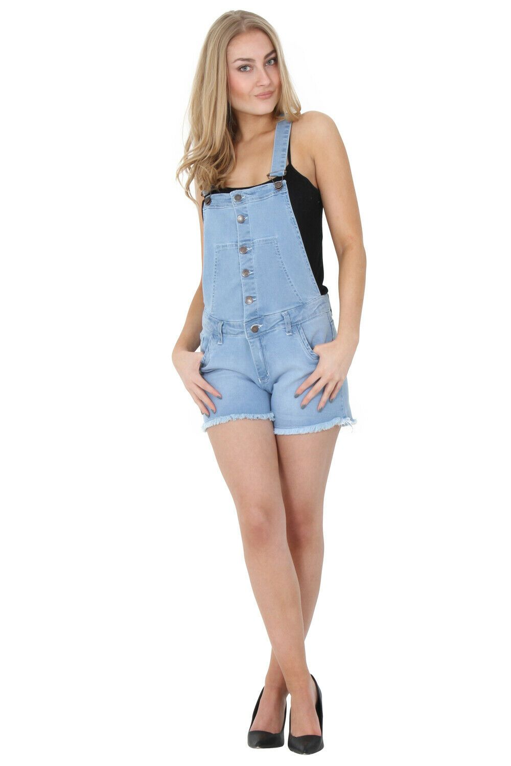 Full frontal of 'Holly' style soft, stretchy mid-weight denim bib-overall shorts from Dungarees Online.