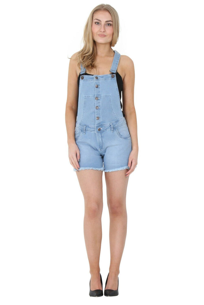 Full angled rear-side view of pale-wash dungaree shorts with view of back pockets, belt loops and frayed hems.