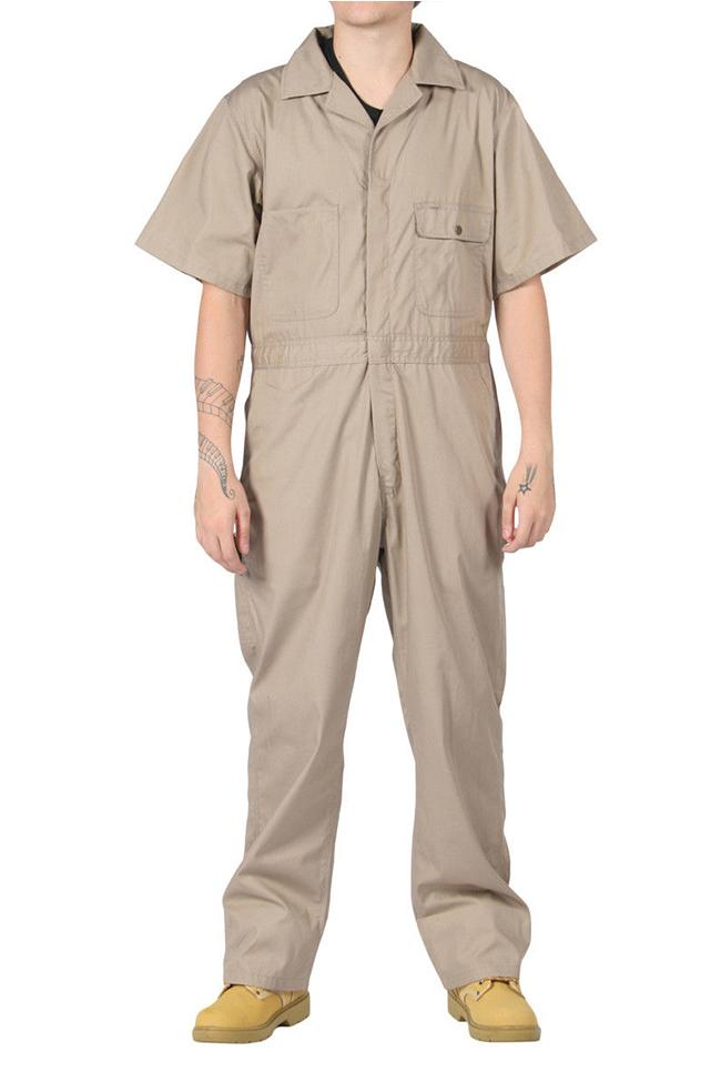 Full rear view of khaki 'Key USA' coverall, showing pleated back and large, reinforced rear pockets.