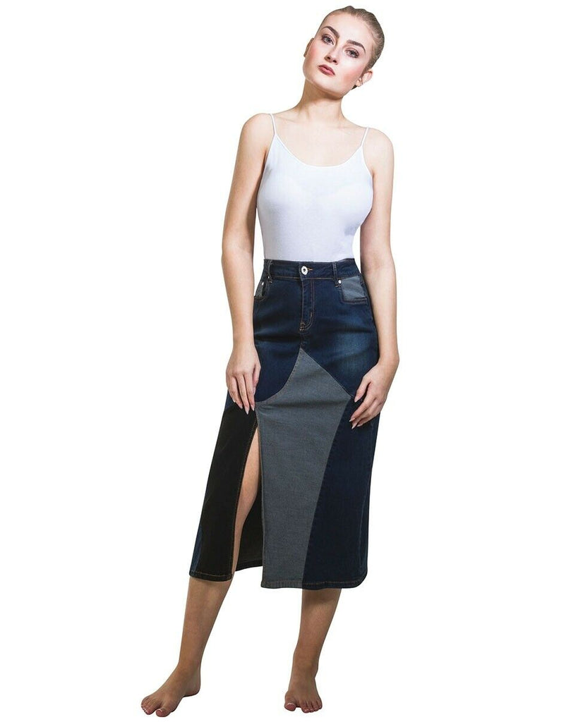 Below-the-knee denim skirt from Dungarees Online, with front pockets, multi coloured denims, zip fastenings and slit.