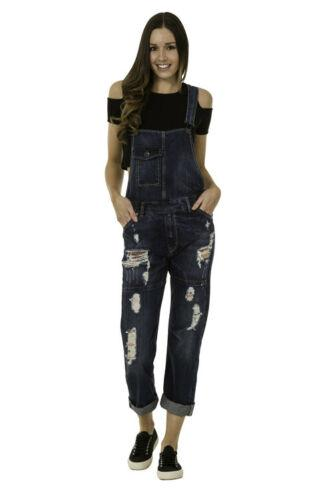 Straight frontal view of fatigued women's dark-wash denim bib overalls with view of pockets and belt loops.