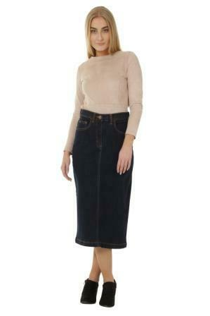 Full frontal with legs crossed wearing 'Samantha' brand denim midi skirt from Dungarees Online.