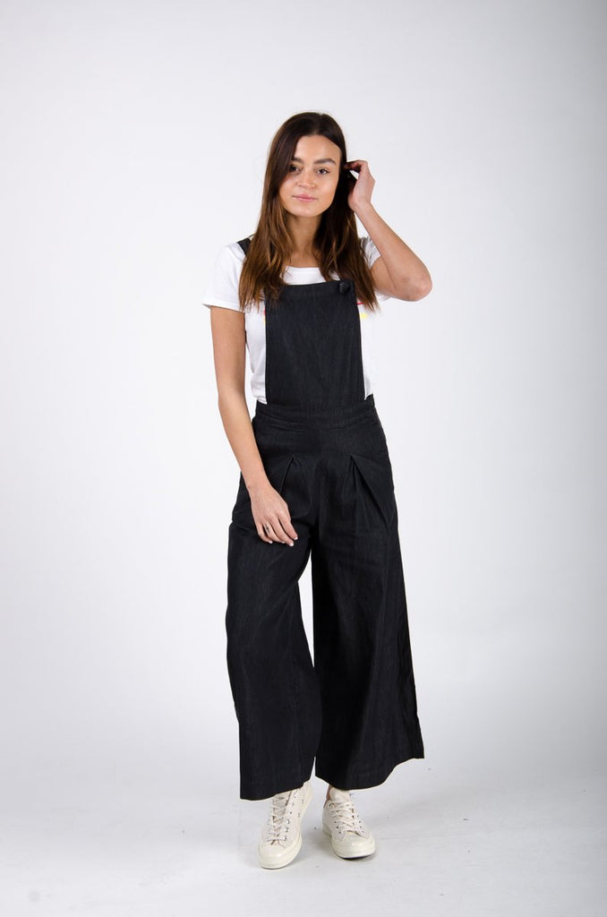 Full frontal pose wearing 'Bluebell' brand culotte dungarees from Dungarees Online.