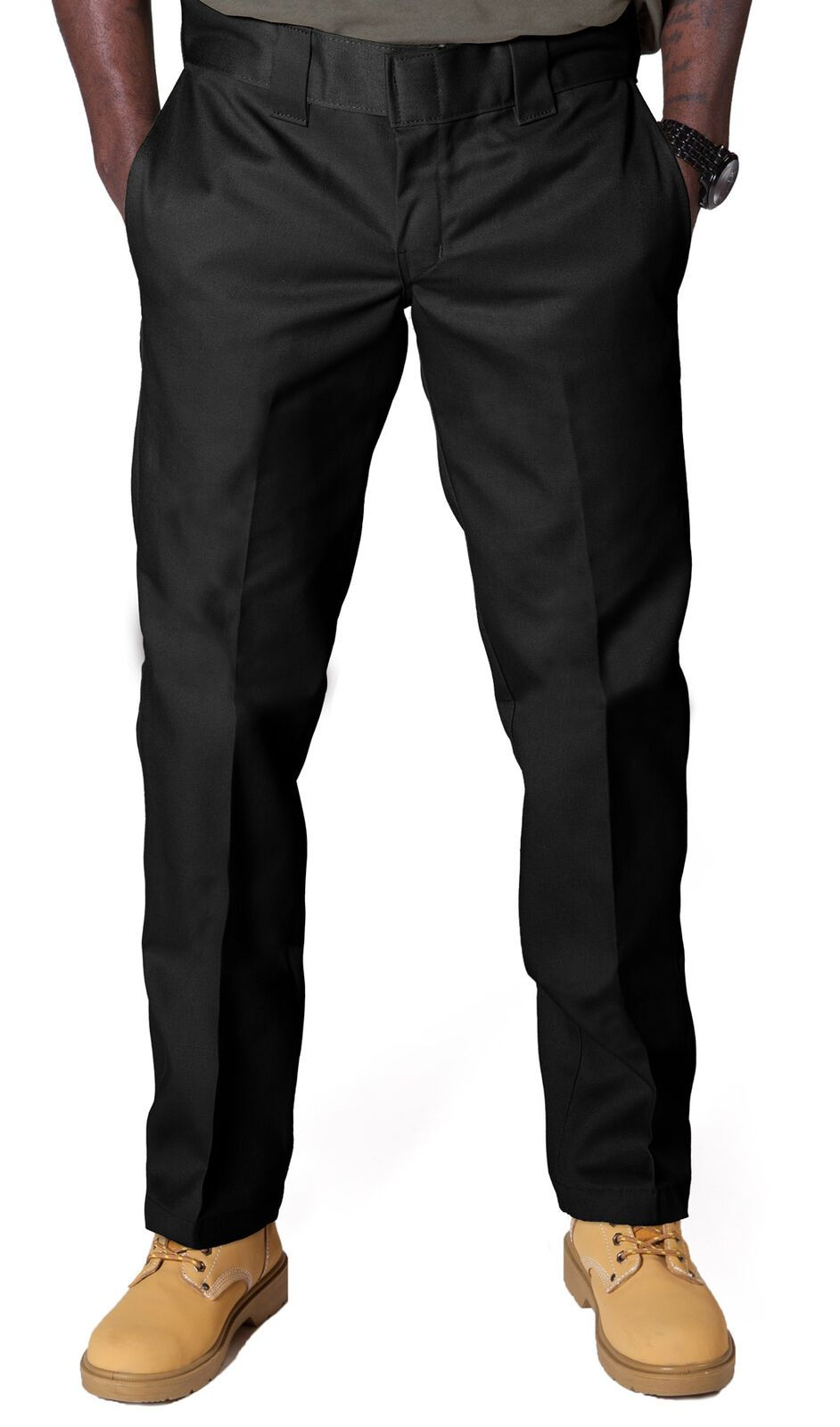 Front of Dickies slim fit 873 work pant in black, showing permanent crease, twill fabric and tunnel belt loops.