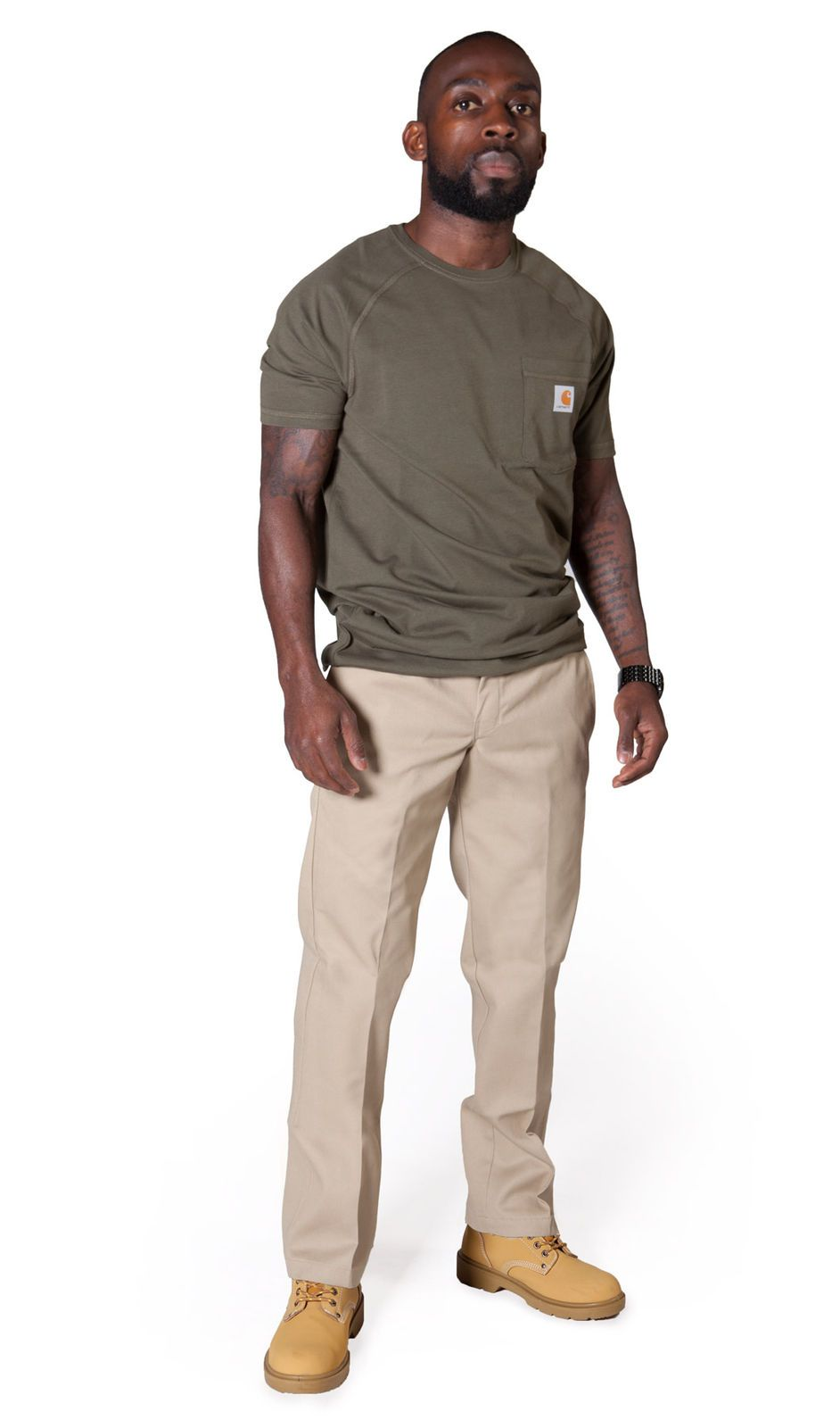 Slightly angled front view of khaki, slim-fit work trousers from Dickies