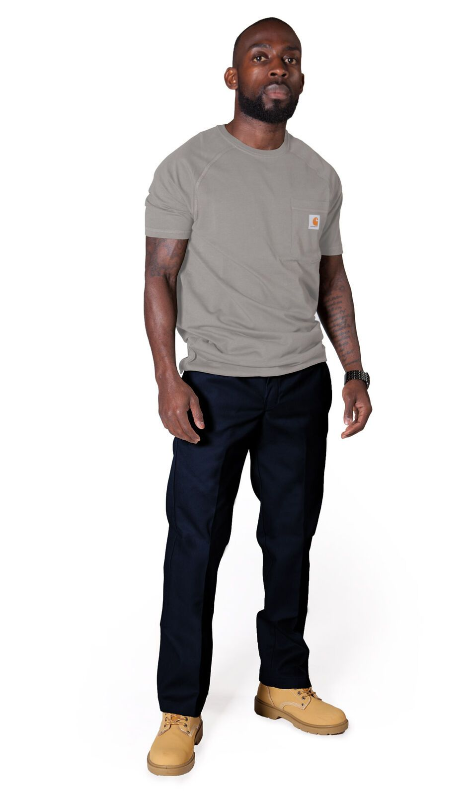 Slightly angled front view of navy-blue, slim-fit work trousers from Dickies.