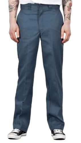 Front of Dickies original fit 874 Work Pant in Airforce Blue, showing permanent crease, twill fabric and tunnel belt loops.