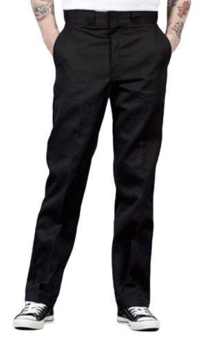 Front of Dickies original fit 874 Work Pant in black, showing permanent crease, twill fabric and tunnel belt loops.