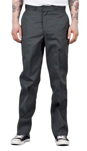 Front of Dickies original fit 874 work pant in charcoal, showing permanent crease, twill fabric and tunnel belt loops.