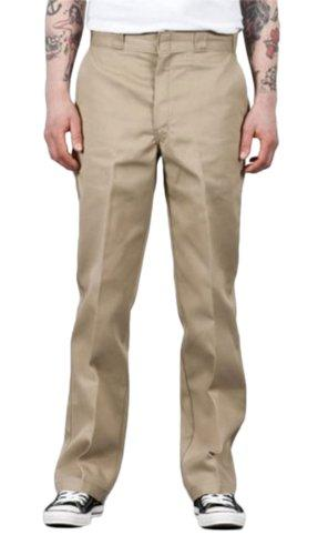 Front of Dickies original fit 874 work pant in khaki, showing permanent crease, twill fabric and tunnel belt loops.