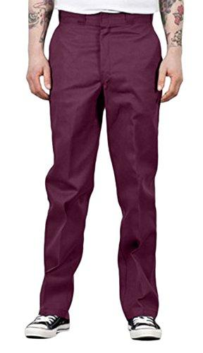 Front of Dickies original fit 874 work pant in burgundy, showing permanent crease, twill fabric and tunnel belt loops.