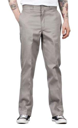 Front of Dickies original fit 874 work pant in silver, showing permanent crease, twill fabric and tunnel belt loops.