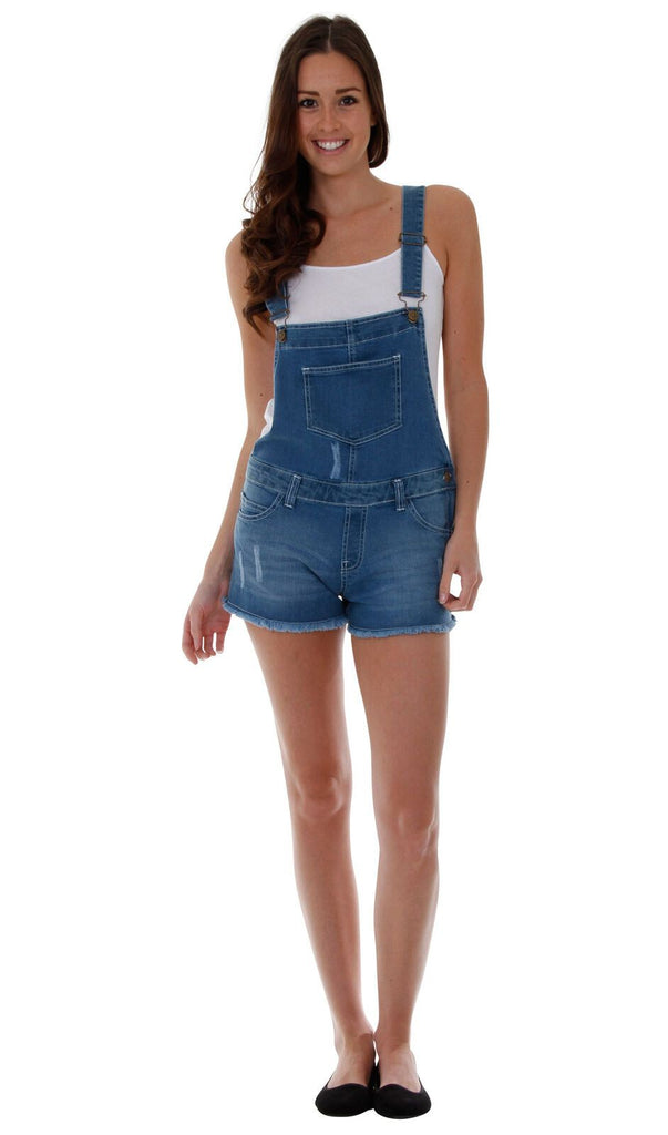 Top-half rear of mid-weight denim bib-overall shorts with view of frayed hems and abrasion detail.